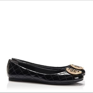 Tory Burch Quinn Quilted Flat Black Patent Leather
